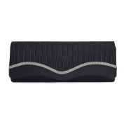 Womens Ladies Diamante Satin Pleated Prom Party Evening Dressy Occasion Hand Clutch Bag - T54