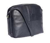 Ladies Real Leather Cross Body Bag Womens Organiser Shoulder Bag 'BARI' NAVY BLUE 19x17x9cm