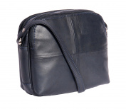 Ladies Real Leather Cross Body Bag Womens Organiser Shoulder Bag 'BARI' NAVY BLUE 19x17x9cm
