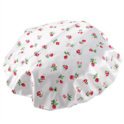 Lady Nylon Flower Print Water Resistance Bathing Hat Shower Cap White