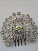 AB and Clear Crystal Starburst Mini Haircomb