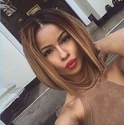 30cm Black to Brown Ombre Wig, Fashion Heat Resistant Full Head Bob Style Fun Wig Black Root to Brown