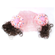 Girls Curly Wig Flowers Decor Hollow Out Hairband Headband Pink
