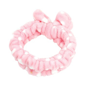 Lady Pink 6.9cm Width Elastic Dots Bowknot Detailing Headband Hairband