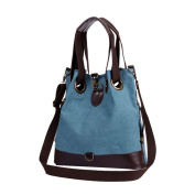 Fakeface Women Lady Girls Fashion Canvas Shopping Shoulder Bags Tote Simple Style Handbag Blue