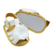 Clode®Baby Girl Summer White PU Leather Flower Crib Soft Sole Anti-slip Flat Sandals