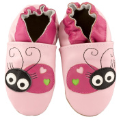 JT-Amigo Soft Sole Leather Baby Shoes, Pink Ladybug, 18-24 Months