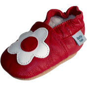 Dotty Fish - Soft Leather Baby & Toddler Shoes - Girls - Red & White Flower