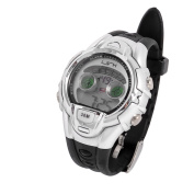 Children Black Soft Plastic Band Silver Tone Case LCD Sports Wrist Watch