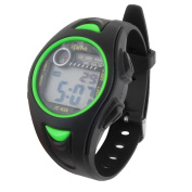 Round Dial LCD Display Adjustable Alarm Stopwatch Sport Watch Green