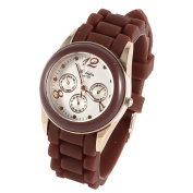 Woman 3.5cm Dia Dial Single Pin Buckle Silicone Wristband Watch Brown