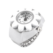 Como Metal Stretchy Band Sun Flower Arabic Number Dial Finger Ring Watch