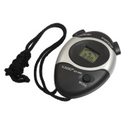 Black Plastic Shell LCD Display Sports Stopwatch w Nylon Strap