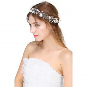 TiaoBug Vintage Rhinestone Crystal Pearl Bridal Heandband Headdress Wedding Hair Accessories