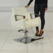 White Leather Style Hairdressing Hairdresser Barber Saloon Swivel Chair