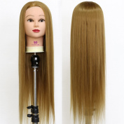 Neverland Beauty 70cm Long Smooth 100% Synthetic Brown Hair Hairdressing Equipment Styling Head Doll Mannequin Training Head Tools Braiding Cutting Student Practise Model with Clamp #27 UK Stock