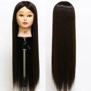 Neverland Beauty 70cm Long Smooth 100% Synthetic Darkest Brown Hair Hairdressing Equipment Styling Head Doll Mannequin Training Head Tools Braiding Cutting Student Practise Model with Clamp UK Stock