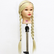 Neverland Beauty 80cm Long Smooth 100% Synthetic Blonde Hair Hairdressing Equipment Styling Head Doll Mannequin Training Head Tools Braiding Cutting Student Practise Model with Clamp UK Stock