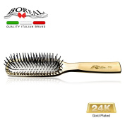 Luxury Hair brush. 24-carat gold plating, in rounded plastic pins. Packed in transparent case. Perfect as a gift idea. Made in Italy 100%.