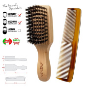 Brush and comb for beard and moustache. Made in Italy. For man.