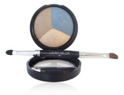 Laura Geller Baked Eye Pie Shadow Trio in Blueberry Muffin with free double ended brush/applicator.