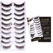 Bella Hair 10 Different Styles Quality Fibre Hand-made Natural Looking Thick Soft False Eyelashes 10 Pairs