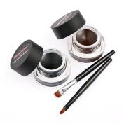 Makeup Eyeshadow,Amlaiworld 2Pcs Waterproof Eye Liner Eyeliner Shadow Gel Makeup Cosmetic Brush Brown Black