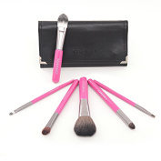 Xcellent Global 6 pcs Makeup Brush Set Cosmetic Brush Kits with Travel Pouch Powder Foundation Eye shadow Brow Eyeliner Lip Blush Contour Brush Tool Wood Handle BT008