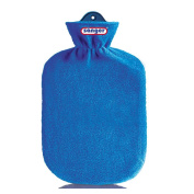 2 Litre Hot Water Bottle with Flecce Red Therapy, Fleecy Hot Water Bottle Cover Blue