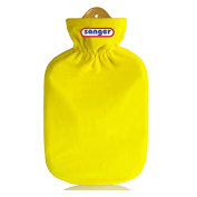 2 Litre Hot Water Bottle with Fleece Cover Hot Water Bottle Heat Therapy Yellow