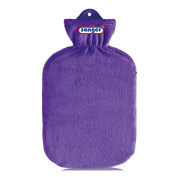 2 Litre Hot Water Bottle with Fleece Cover Hot Water Bottle Heat Therapy, Purple)