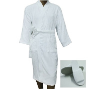 Men Women Terry Bathrobe Cotton Plus Free Slippers Unisex Towelling Gown Large Size Guest Hotel