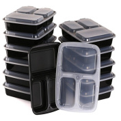 Meal Prep Containers for Weight Loss (10pck) 3 Compartment Bento boxes for Healthy & Clean Eating by Trendy Cooks, Use as Portion Control Kit & Food Storage, Microwaveable, Reusable & Dishwasher Safe
