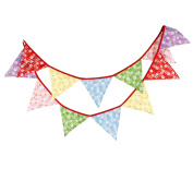 3.2M Multicoloured Catoon Floral Fabric Flag Buntings Wedding Birthday Party Decoration