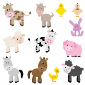 Farm Animals Children's Wall Stickers Set of 12 removable Full Colour Wall Art Decals