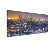 Los Angeles City of Angels Skyline Lights Night Panorama Wall Art on Canvas with Stretcher Frame 150 x 50 cm