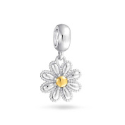 Bling Jewellery 925 Sterling Silver Gold Plated Daisy Flower Dangle Bead Fits Pandora