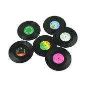 SAGUARO Retro Vinyl Record Beverage Silicone Drink Coasters Set Of 6 Prevent slippery