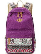 Leaper Cute Polka Dot and Aztec Casual Canvas Backpack School Bag Lightweight Rucksack