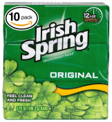(PACK OF 10 BARS) Irish Spring ORIGINAL SCENT Bar Soap for Men & Women. 12-HOUR odour / DEODORANT PROTECTION! For Healthy Feeling Skin. Great for Hands, Face & Body!