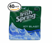 (PACK OF 40 BARS) Irish Spring ICY BLAST SCENT Bar Soap for Men & Women. 12-HOUR odour / DEODORANT PROTECTION! For Healthy Feeling Skin. Great for Hands, Face & Body!