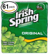 (PACK OF 61 BARS) Irish Spring ORIGINAL SCENT Bar Soap for Men & Women. 12-HOUR odour / DEODORANT PROTECTION! For Healthy Feeling Skin. Great for Hands, Face & Body!