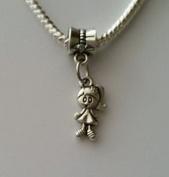 Beads Hut - Little Girl Daughter Granddaughter Dangle Bead for European Style Charm Bracelet