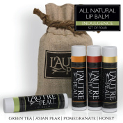 All Natural Luxury Lip Balm by L'AUTRE PEAU | Green Tea, Asian Pear, Pomegranate & Honey Flavours - Special 4 Pack Gift Set | Moisturiser (Natural Beeswax) | The Indulgence Lip Balm Gift Set