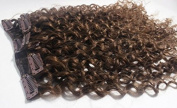 Deep Curl Deep Wave Brown Brazilian Clip in Hair Extensions 100% Remy Human Hair 24 Inches(55cm) 80g 7pcs/set, Colour #6 Medium Brown