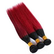 Yaweida Hair Straight Ombre Brazilian Hair 3 Bundles Human Hair Weave Extensions No Shedding No Tangle