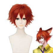 Coolsky 30cm Short Orange Zootopia Cosplay Wig Soft Party Costume Hair Wig
