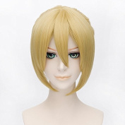Coolsky 35cm Short Golden yellow Soft Kagamine Ren Party Costume Hair Wig