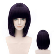 Coolsky 30cm Medium Style Purple Black MOBILE SUIT GUNDAM/Tieria¡¤Erde TVB Cosplay Wig Soft Party Costume Hair Wig
