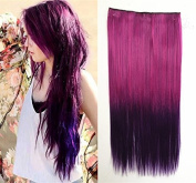Fuchsia to Purple Two Colours Ombre Hair Extension, Synthetic Hair Extensions UF519